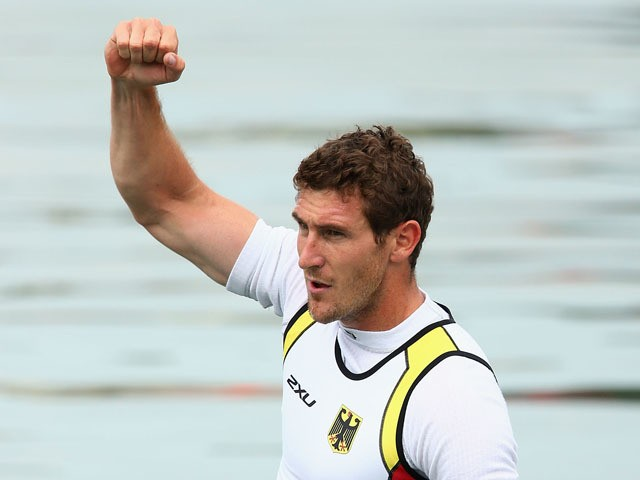 Sebastian Brendel of Germany celebrates after winning the Final Canoe Single (C1) 1000m Men during day three of the Baku 2015 European Games at Mingachevir on June 15, 2015