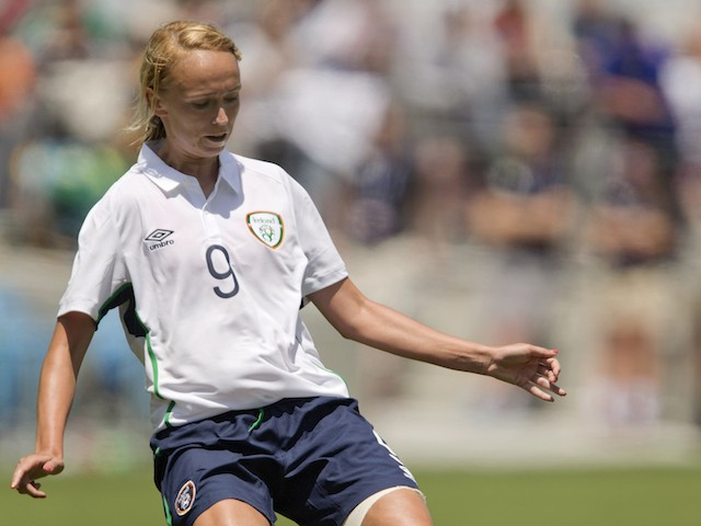Stephanie Roche #9 of Ireland passes the ball against the United States in the second half of their international friendly match on May 10, 2015