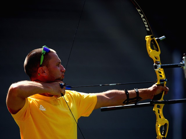 Vicktor Ruban of Ukraine competes in the Men's Team Archery finals against Spain during day six of the Baku 2015 European Games at Tofiq Bahramov Stadium on June 18, 2015