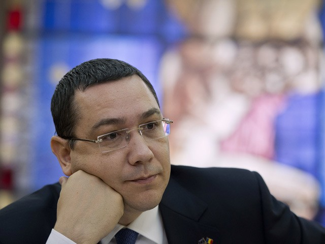 Romanian Prime Minister Victor Ponta is pictured during an interview with journalists at the Romanian Government headquarters in Bucharest on June 9, 2015