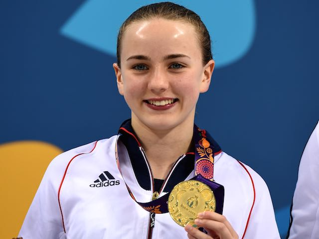 Team GB's Lois Toulson clutches her gold medal after winning gold in the women's 10m at the European Games on June 18, 2015
