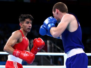Great Britain's Qais Ashfaq in action during his bout with Giorgi Gocatishvili of Georgia at the European Games in Baku on June 17, 2015