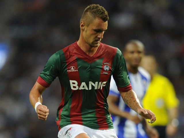 Maritimo's German defender Patrick Bauer controls the ball during the Portuguese league football match FC Porto vs Maritimo at the Dragao Stadium in Porto on August 15, 2014