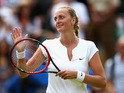 Petra Kvitova of Czech Republic acknowledges the crowd after victroy in her Ladies Singles Second Round match against Kurumi Nara of Japan during day four of the Wimbledon Lawn Tennis Championships at the All England Lawn Tennis and Croquet Club on July 2