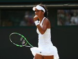 Heather Watson of Great Britain celebrates a point during her Ladies Singles Second Round match against Daniela Hantuchova of Slovakia during day three of the Wimbledon Lawn Tennis Championships at the All England Lawn Tennis and Croquet Club on July 1, 2