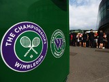 A general view of the Wimbledon logo on day one of the Wimbledon Lawn Tennis Championships at the All England Lawn Tennis and Croquet Club at Wimbledon on June 23, 2014