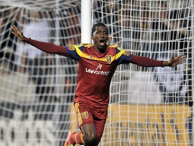 Olmes Garcia #13 of Real Salt Lake celebrates his second half goal against the Philadelphia Union in their 3-3 tie at Rio Tinto Stadium on March 14, 2015