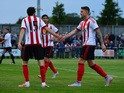 Connor Wickham of Sunderland celebrates scoring in the second half during a pre season friendly between Darlington and Sunderland at Heritage Park on July 9, 2015