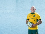 Stephen Moore poses during an Australian Wallabies portrait session at Lake Kawana on July 6, 2015