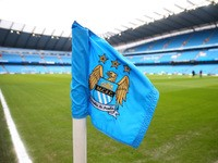General View of a corner flag and the stadium prior to the Barclays Premier League match between Manchester City and Hull City at the Etihad Stadium on February 7, 2015