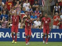 Blas Perez (7) of Panama celebrates a goal against the United States during the CONCACAF Gold Cup match between Panama and United States at Sporting Park in Kansas City, Kansas on July 13, 2015
