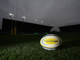 A general view of a match ball ahead of Aviva Premiership match between London Welsh and Leicester Tigers at Kassam Stadium on November 23, 2014
