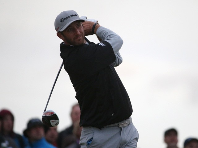 Dustin Johnson of the United States tees of on the 13th hole during the second round of the 144th Open Championship at The Old Course on July 17, 2015