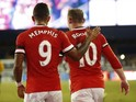 Memphis Depay and Wayne Rooney of Manchester United during an International Champions Cup game in San Jose on July 21, 2015