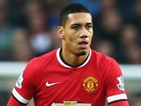 Chris Smalling of Manchester United in action during the Barclays Premier League match between Manchester United and Hull City at Old Trafford on November 29, 2014