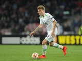 Nicklas Bendtner of Wolfsburg in action during the UEFA Europa League quarter-final second leg match between SSC Napoli and VfL Wolfsburg on April 23, 2015