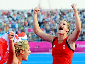 Crista Cullen #5 of Great Britain celebrates with teammates their 3-1 victory over New Zealand during the Women's Hockey bronze medal match on Day 14 of the London 2012 Olympic Games at Hockey Centre on August 10, 2012