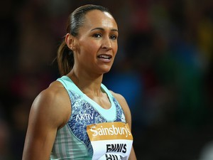 Jessica Ennis-Hill of Great Britain looks on after finishing 5th in the Womens 100m Hurdles during day one of the Sainsbury's Anniversary Games at The Stadium - Queen Elizabeth Olympic Park on July 24, 2015