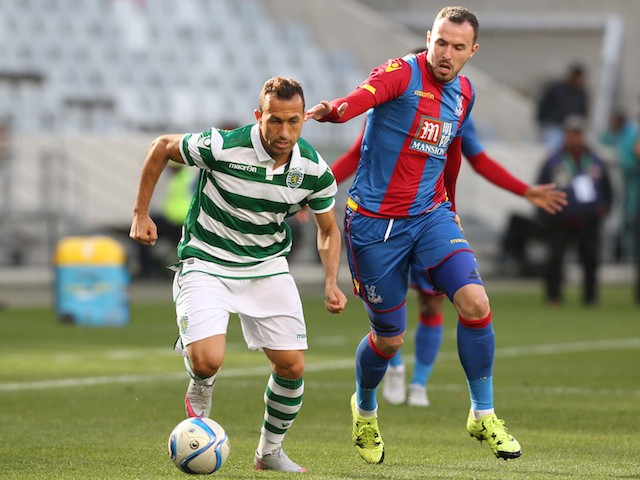 Jefferson Nascimento of Sporting Club de Portugal competes with Jordon Mutch of Crystal Palace during the 2015 Cape Town Cup Final match between Crystal Palace FC and Sporting Lisbon at Cape Town Stadium on July 26, 2015
