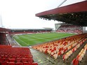 A general view of inside Pittodrie Stadium before the Scottish Premiere League match between Aberdeen FC and Motherwell FC at Pittodrie Stadium on May 11, 2014