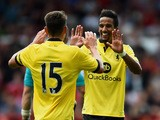 Scott Sinclair of Aston Villa is congratulated on scoring the third goal during the Pre Season Friendly match between Nottingham Forest and Aston Villa at City Ground on August 1, 2015