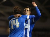 Inigo Calderon of Brighton & Hove celebrates with Beram Kayal after scoring a goal during the Sky Bet Championship match between Brighton & Hove Albion and Leeds United at Amex Stadium on February 24, 2015