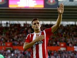 Dusan Tadic of Southampton celebrates after scoring from a penalty to make it 2-0 during the UEFA Europa League Third Qualifying Round 1st Leg match between Southampton and Vitesse at St Mary's Stadium on July 30, 2015