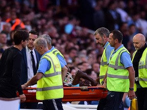 Enner Valencia of West Ham is stretchered off the field injured during the UEFA Europa League third qualifying round match between West Ham United and Astra Giurgiu at the Boleyn Ground on July 30, 2015