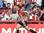 James Tarkowski of Brentford celebrates his goal during the Sky Bet Championship match between Brentford and Ipswich Town at Griffin Park on August 8, 2015