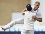 Ben Stokes mounts Joe Root after taking the wicket of Shaun Marsh on day two of the Fourth Test of The Ashes on August 7, 2015