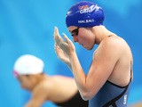 Fran Halsall of Great Britain prepares to compete in the Women's 50m Butterfly heats on day fourteen of the 16th FINA World Championships at the Kazan Arena on August 7, 2015