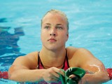 Ruta Meilutyte of Lithuania looks on after competing in the Women's 100m Breaststroke Heats on day ten of the 16th FINA World Championships at the Kazan Arena on August 3, 2015