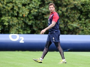 Danny Cipriani has a little stroll during an England training session on August 4, 2015