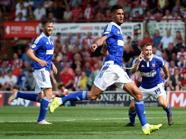 Ryan Fraser of Ipswich Town celebrates scoring his sides second goal during the Sky Bet Championship match between Brentford and Ipswich Town at Griffin Park on August 8, 2015