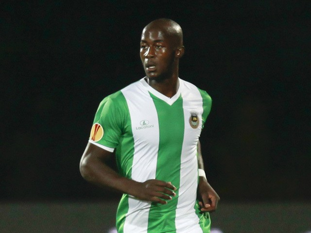 Prince-Desir Gouano of Rio Ave in action during the UEFA Europa League Group J match between Rio Ave FC and FC Dynamo Kyiv at the Dos Arcos Stadium on September 18, 2014