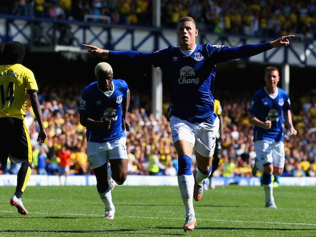 Ross Barkley of Everton celebrates scoring his team's first goal during the Barclays Premier League match between Everton and Watford at Goodison Park on August 8, 2015