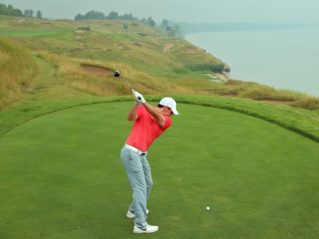 Rory McIlroy hits a drive during a practice round for the US PGA Championship at Whistling Straits on August 10, 2015