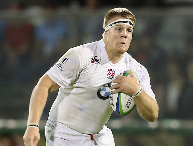 Paul Hill of England runs with the ball during the World Rugby U20 Championship final match between England and New Zealand at Stadio Giovanni Zini on June 20, 2015 in Cremona, Italy.