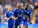 Riyad Mahrez of Leicester City celebrates scoring his team's first goal during the Barclays Premier League match between Leicester City and Tottenham Hotspur at The King Power Stadium on August 22, 2015