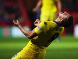 Chris Wood of Leeds United celebrates scoring during the Sky Bet Championship match between Bristol City and Leeds United at Ashton Gate on August 19, 2015