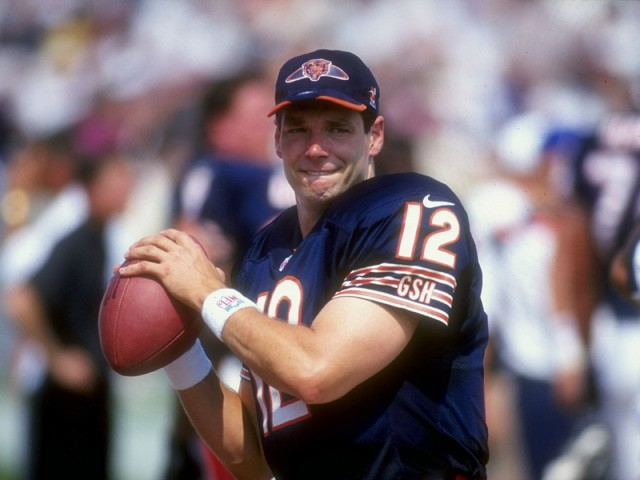 Quarterback Erik Kramer #12 of the Chicago Bears in action during the game against the Jacksonville Jaguars at Soldier Field in Chicago, Illinois on September 6, 1998
