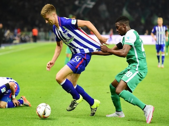 Hertha's midfielder Jens Hegeler and Bremen's Swiss defender Ulisses Garcia vie for the ball during the German first division Bundesliga football match Hertha BSC Berlin vs SV Werder Bremen in Berlin, on August 21, 2015