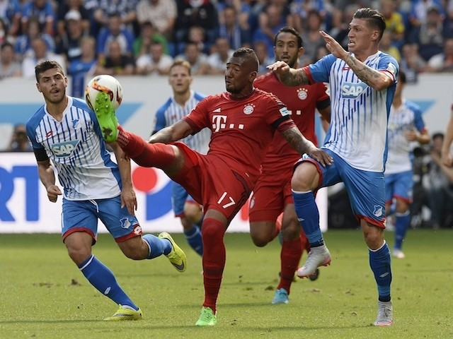 Hoffenheim's midfielder Kevin Volland and Bayern Munich's defender Jerome Boateng vie for the ball during the German first division Bundesliga football match 1899 Hoffenheim vs FC Bayern Munich, on August 22, 2015