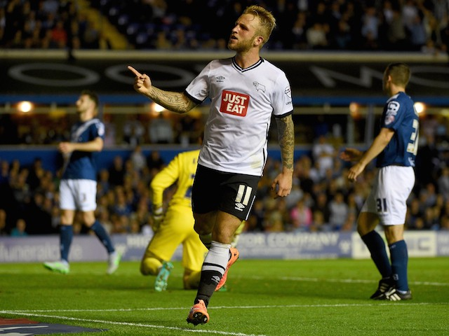 Johnny Russell of Derby County celebrates after he scores his teams opening goal during the Sky Bet Championship match between Birmingham City and Derby County at St Andrews (stadium) on August 21, 2015