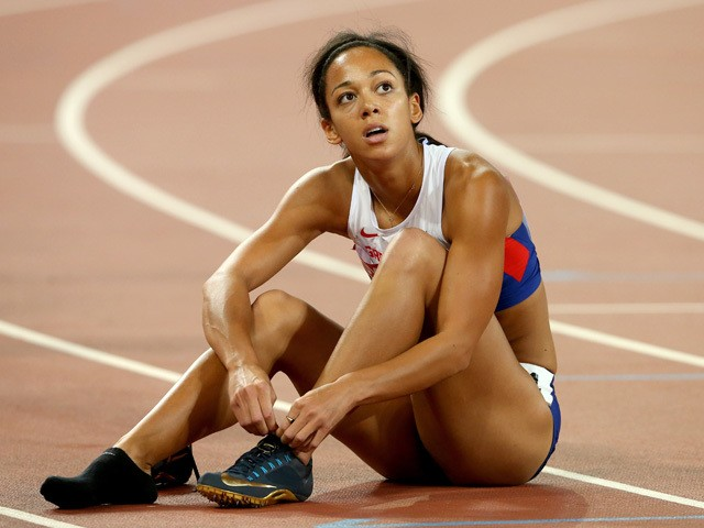 Katarina Johnson-Thompson of Great Britain reacts after competing in the Women's Heptathlon 200 metres during day one of the 15th IAAF World Athletics Championships Beijing 2015 at Beijing National Stadium on August 22, 2015