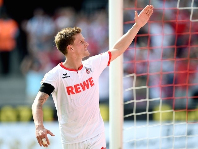 Cologne's striker Simon Zoller reacts during the German first division Bundesliga football match FC Koeln v VfL Wolfsburg , on August 22, 2015