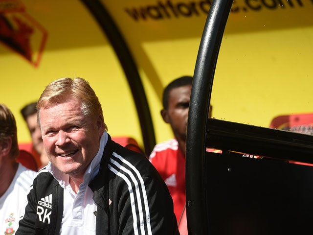 Manager of Southampton Ronald Koeman looks on during the Barclays premier League match between Watford and Southampton at Vicarage Road on August 23, 2015