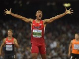 Ashton Eaton celebrates winning his heat of the 400 metres in the men's decathlon athletics event at the 2015 IAAF World Championships at the 'Bird's Nest' National Stadium in Beijing on August 28, 2015