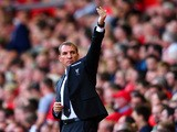 Brendan Rodgers, manager of Liverpool gesstures during the Barclays Premier League match between Li