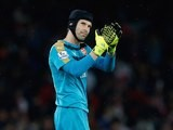 Arsenal keeper Petr Cech applauds after his man of the match performance against Liverpool on August 24, 2015